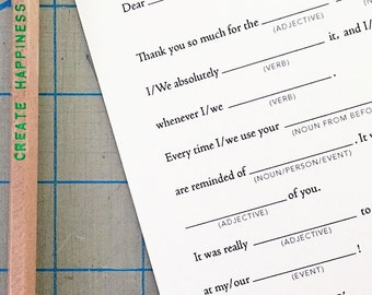 12 Humorous Fill-In the blank style Thank You Cards BULK 12-pack great for weddings, showers, kids & adults. Fun and simple thank you cards