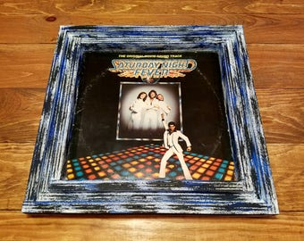 Vinyl record album cover frame, handcrafted from reclaimed wood with vintage 1977 Saturday Night Fever Soundtrack cover