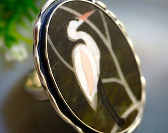 Statement Ring Stork Mosaic Ring Sterling Silver Jewelry