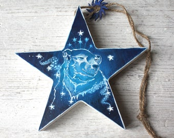 Hand painted wooden star Christmas decoration, Star Bear