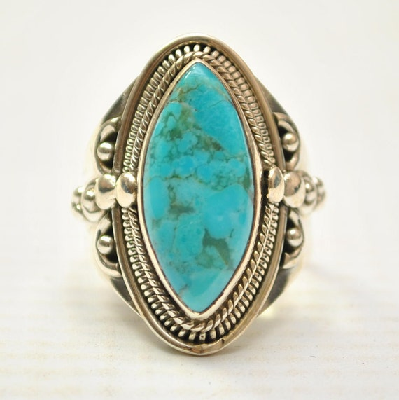 Sterling Silver Sleeping Beauty Turquoise Ring Sz 8 #9271