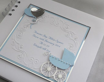 "Personalised, Baby Boy Christening/Naming Day Album With Interleaving, 8"" x 8"" Pram And Balloons ,Boxed"