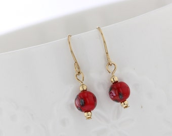 Gold filled Red floral glass bead dangle earring