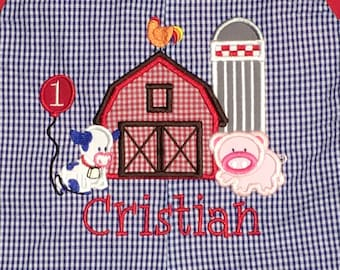 Boy's Old McDonald's Farm Barn Silo Cow Pig Rooster Perfect for Birthdays Shirt, John John or Outfit