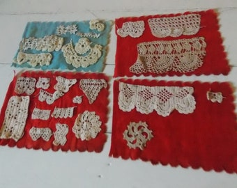 Antique Crochet Samples Old Red Fabric to Frame Create Collage Sew Art Primitive Decor Stitchery Projects Pretty Detail