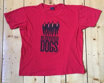 Vintage 1992 Reservoir Dogs Quentin Tarantino Dog Eat Dog Red Movie Promo T Shirt - Fits XL (Short, please read measurements)