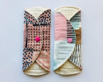 SET OF 2, Organic Cloth Panty Liner, Cloth Menstrual Pads, Mama Cloth, Mama pads, Reusable Cloth Pads,Moon Pads, zero waste, pink