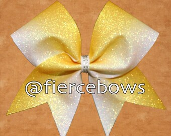 Yellow Ombre Glitter Cheer Bow