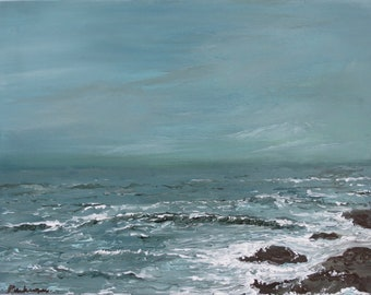 "Acrylic Painting Original Seascape // ""Sound of the Sea"" 11 x 14"" on Canvas Board by Rachampart"