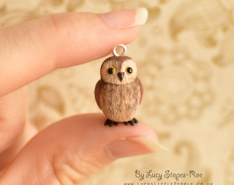 Hand-Sculpted Tiny Brown Owl Pendant with Chain
