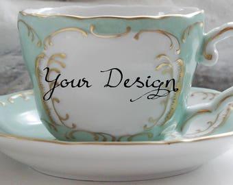 Green & Gold Customized Teacup and Saucer Set, Custom Teacup, Personalized Cup, Custom Wedding Cup, custom Mug, Personalized Mug, Any Design