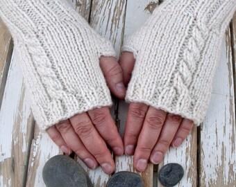 Women's Long Cable Knit Fingerless Gloves PDF Knitting Pattern