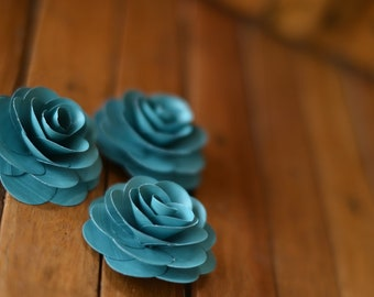 50 Pcs Teal  Paper Roses Wholesale for Weddings and Craft Projects