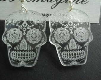 Laser cut and engraved clear acrylic earrings Sugar Skull, Dia de los Muertos
