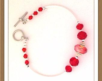 Bracelet Handmade MWL red and silver tube bead bracelet. 0228