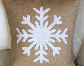 Snowflake Burlap Pillow - Christmas Pillow - Winter Decor *SHIPS Within 3 DAYS!