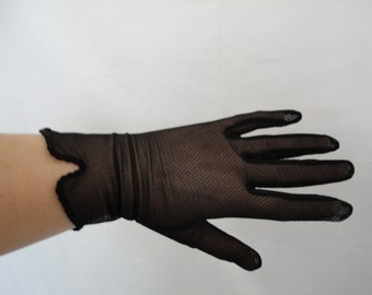 Vintage Black Nylon Net Wrist Gloves with Notch Detail Cuffs - Size 7 to 7.5 - Goth/Wedding/Prom/Steampunk - New Old Stock