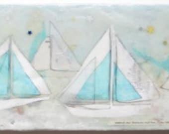 Sailboat painting, encaustic art, encaustic collage, sail boat illustration, regatta