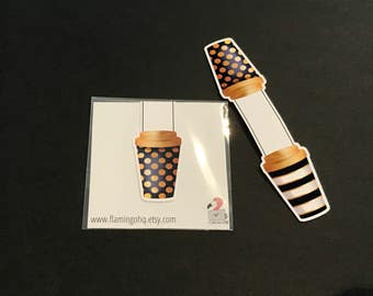 Coffee Cup Bookmark: Stripes and Spots (double sided)