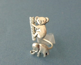 silver koala ring with an elephant, wrap open style, adjustable ring, animal ring, silver ring, statement ring