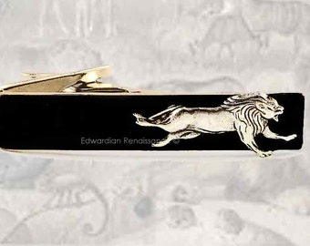 SIlver Running Lion Tie Clip Inlaid in Hand Painted Glossy Black Onyx Enamel Safari Inspired Vintage Style Leo Neck Tie Bar Accent