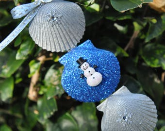 Scallop Shell Trio Christmas Ornament in Blue and Silver - Snowman