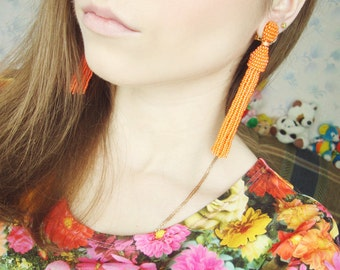 Beaded Tassel Clip-On Earrings Tangerine with Crystals