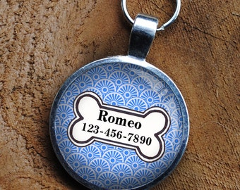 Pet iD Tag light blue colored colorful round Dog Tag by California Mutts