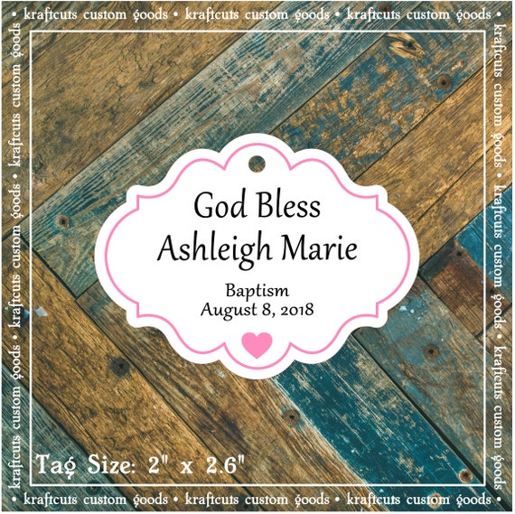 Personalized Baptism, Christening or First Communion God Bless Religious Favor Tags - Baby Girl Pink Border #770 FREE SHIPPING!