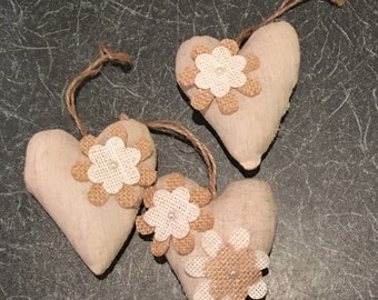 Hessian Heart with Layered Flower
