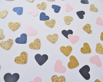Gold Glitter and Navy Blue and Blush Pink Heart Confetti, Wedding Reception Decoration, Table Scatter, Bridal Shower Decor