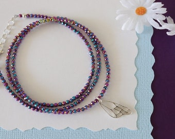 Violet Hematite Triple Wrap Bracelet or Single Necklace, Butterfly Wing, Phoenix Rising, Bird, Lotus, Nautical, Hematite, Healing Stone
