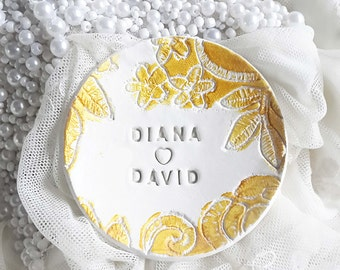 Personalized ring dish, wedding gift, ring holder, engagement gift, engagement ring holder, gift for couples, bridal shower gift