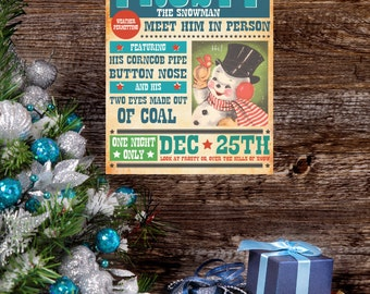 Frosty The Snowman Sign, Vintage Christmas Print, Printable, Vector, Poster, Fixer Upper, Magnolia Farms, Rustic, Joanna Gaines