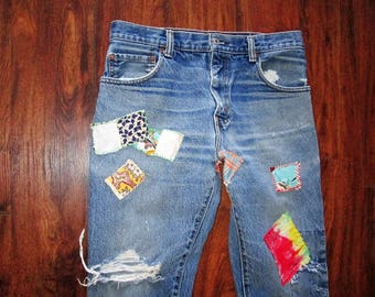 Bootcut Levis Jeans / Distressed Levis Jeans / Patched Jeans / Patchwork Jeans / Hippie Jeans / Grunge Jeans / Boho Jeans / Repaired /