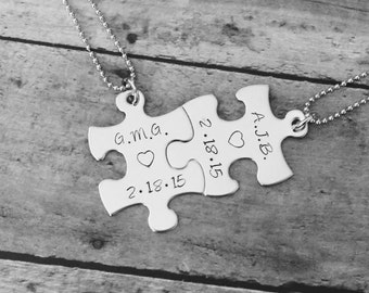 Her One His Only Customized Name and Date  Hand stamped Puzzle piece pendant Necklace set - couple set - anniversay or wedding gifts
