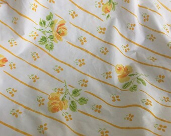 Vintage TWIN FITTED SHEET Yellow Rose Stripe 70s Martex