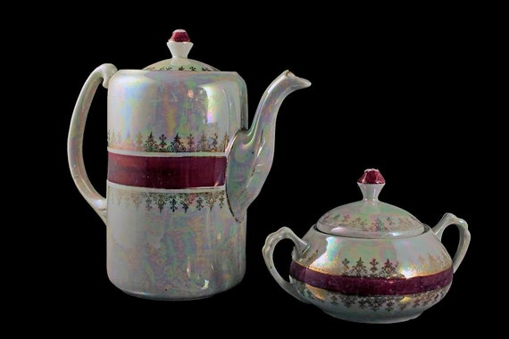 Lusterware Teapot and Sugar Bowl, Made in Germany, Iridescent, Red Band and Gold Trim, Coffee Pot, Hold 2 Cups