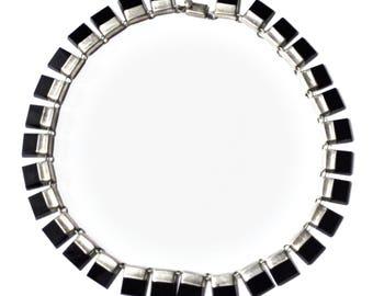 "Sterling Silver Mexico Adan Alvarado Onyx Piano Key Necklace 14"" Choker TA 08"