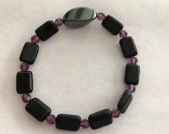 Beautiful Czech Stretch Bracelet with Hematite Focal and Swarovski Crystals