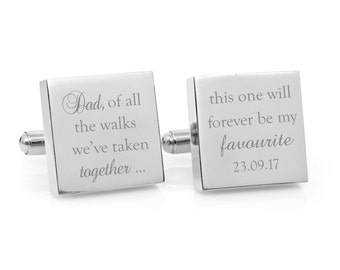 Father of the Bride Favourite Walk - Engraved personalized square silver cufflinks, personalised wedding gift from the Bride