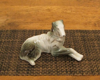 Porcelain Borzoi Russian Wolfhound, Vintage Ceramic Dog Figurine, Made in Occupied Japan, Gray Black Brown and White China Dog Figure