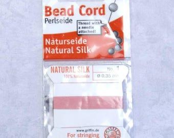 No. 1 Griffin Silk Bead Cord Pearl Thread Knotting Thread Dark Pink Thread Silk  Cord With Needle