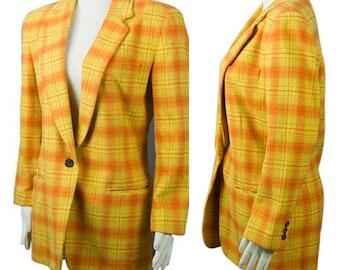 1990 DKNY Jeans Yellow and Orange Plaid Wool Blend Women's Boxy Menswear Inspired Blazer Jacket