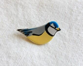 Blue Tit Brooch, Bird Brooch, Garden Bird Brooch, Bird Watching, British Birds, Handmade Brooch, Nature Gift.