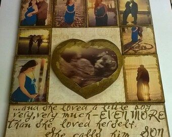 Picture display - pictures transferred on wood, photo transfer on wood, maternity photo display, new mom gift idea,