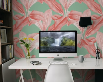 Tropical Palm Coral/Patina Green Peel 'n Stick Wallpaper, Easy to Apply, Perfect for Renters