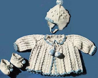 Baby Crochet Pattern, Crochet Baby Sweater Pattern, Baby Booties Pattern & Baby Hat Pattern, INSTANT Download Pattern PDF (1329)