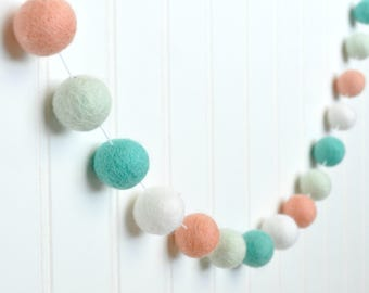 Peach and Mint Nursery Garland, Mint and Peach Felt Ball Garland, Mint Peach Aqua Pom Pom Garland, Peach Baby Shower Decor, Mint Nursery