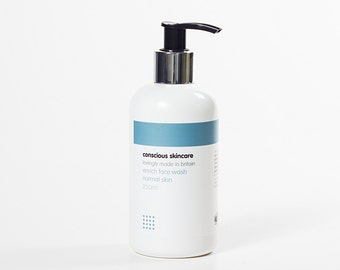 Enrich Organic Face Wash for Normal/Combination Skin types. 250ml or 30ml sample size. Organic Skincare.Chemical Free.